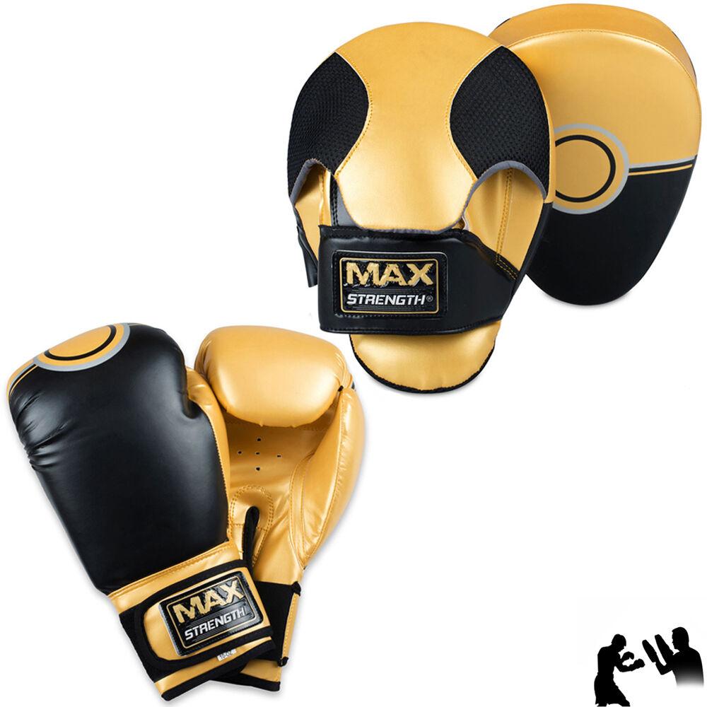 10oz Guantoni da pugilato Curvo Focus Pad Set MMA hook Jab Mauy Thai Kick Training