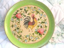 Cottage Green Paper Mache Tole Tray French Country Rooster Pink & Blue Flowers