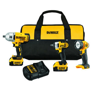 DeWALT-DCK398M2-20-Volt-Lithium-Ion-Impact-Wrench-Spot-Light-Combo-Kit
