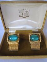 Gold-tone Wrap-around Cufflinks W/ Green Glass Stones, Original Box,