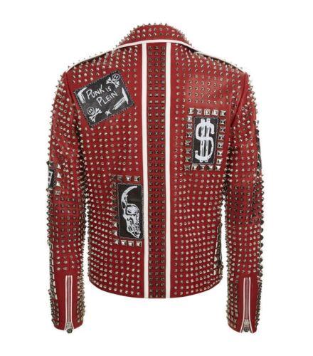 Rote echte Lederjacke Jeans schlanke Mode weiche Silber Nieten mit besetzte rrB1wUR