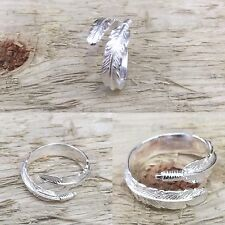 Feather 925 Sterling Silver Adjustable Ring Size 6 to 9 Anti-tarnish Plated