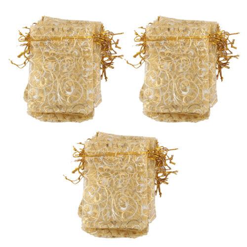 Gold Organzabeutel Organzasäckchen Schmuckbeutel Tasche 9x12cm 100 Stk