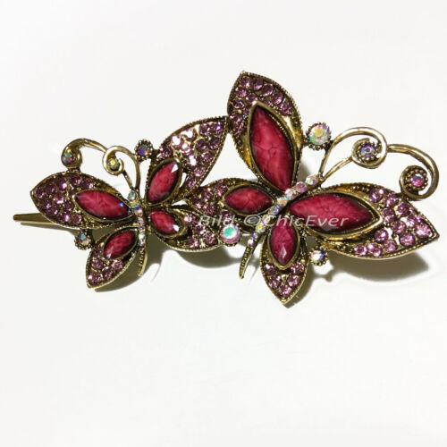 Haarspange Schmetterlinge Metall Strass Vintage Look lila violett gold 4497e