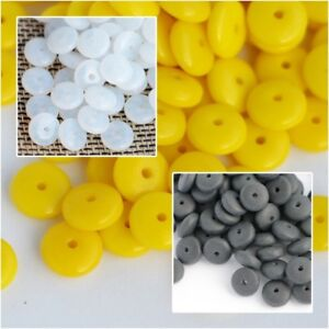 6x2.5mm 1 strand Czech Pressed Glass Opaque Black Rondelle Beads