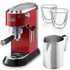 Delonghi Dedica Red Espresso Cappuccino Machine Barista Glasses Frothing Pitcher