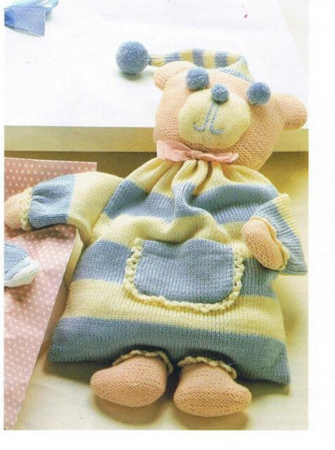 "Knitting Pattern- Childs Teddy Pyjama case in Aran wool 25""tall"