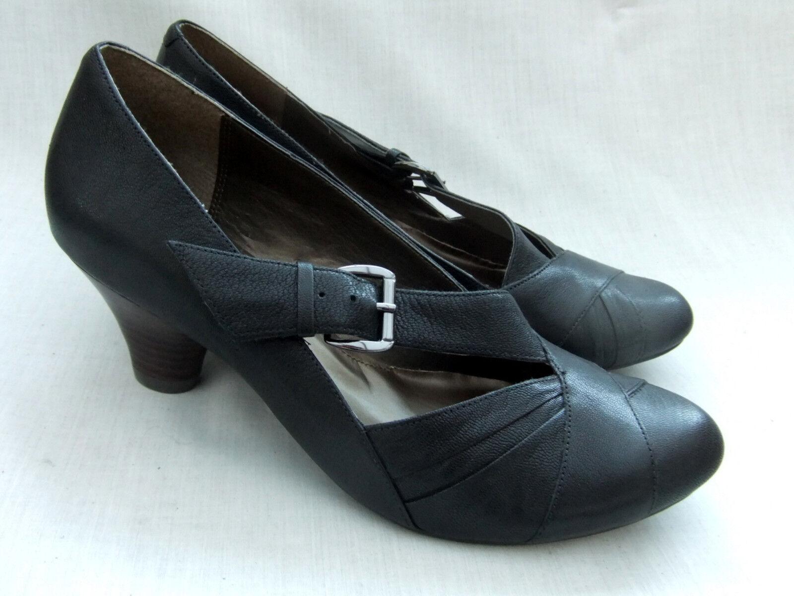 NEW CLARKS SOFTWEAR DAPPLE gris femmes noir LEATHER chaussures Taille 7.5   41.5