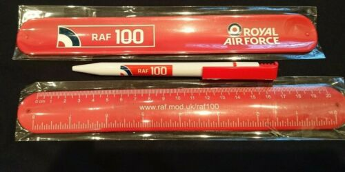 pen new 2 x  RAF Red RAF100 logo ruler 20cm//8inches /'snap/' into wristbands