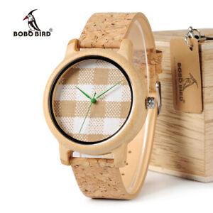 Vintage-Damen-Armbanduhr-Bambus-Holz-Quarz-Stoff-Ziffernblatt-Weihnachten
