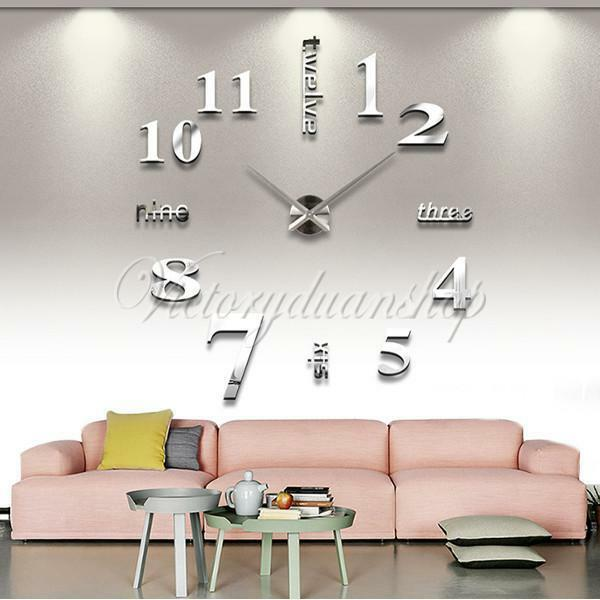 Modern DIY Large Wall Clock 3D Mirror Surface Sticker Home Office Decor Silver