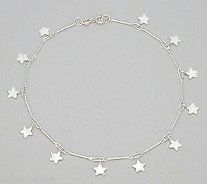 "Jewelry & Watches Fine Jewelry Enthusiastic 5g Solid Sterling Silver Anklet Dangling Stars 10"" Ankle Bracelet Fun & Flirty"