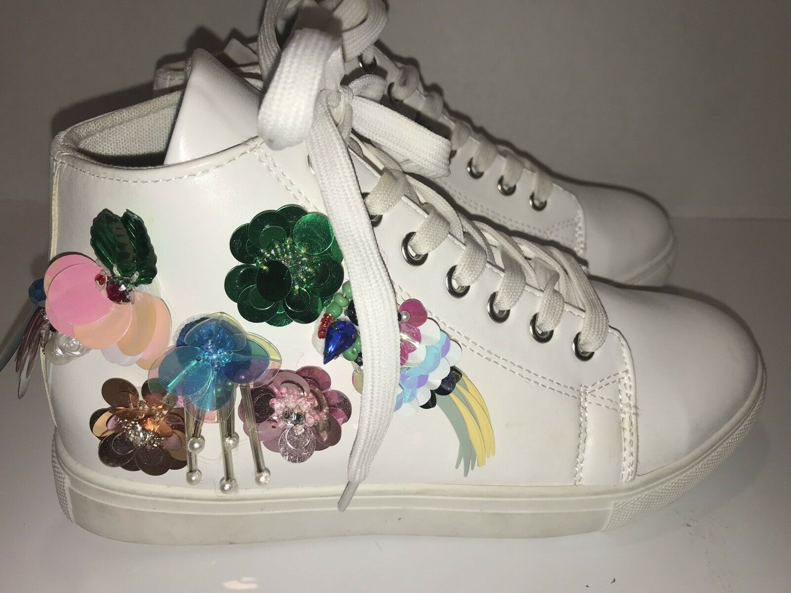 Truffle Collection Sequin Embellished White Sneaker Hi-tops
