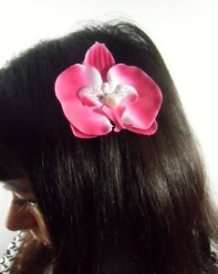 Pince Cheveux Fleur Orchidee Rose Fuchsia Perle Pinup Retro Vintage