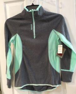 NWT Reebok 1 4 Zip Long Slv Gray Green Active Sports Running Fitness ... 7a16c0e86bf01
