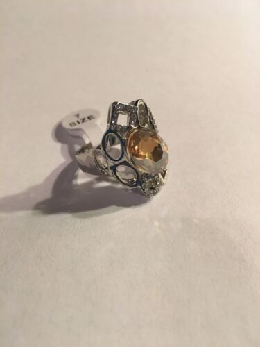 R369 NEW SILVER PLATED CITRINE GEMSTONES RINGS SIZES 6.5 /& 7.5-