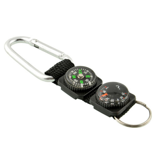 Mini 3 in 1 Carabiner Key Ring Key Compass /& Thermometer Chain s Hiking-YQ O0O2