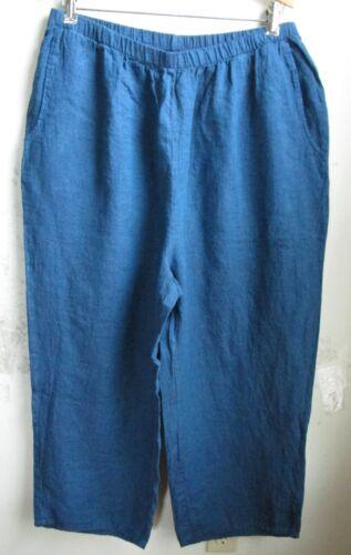 FLAX Designs  Linen Pants 1G  /& 2G   FLoods  NWOT  Traveler BLUE
