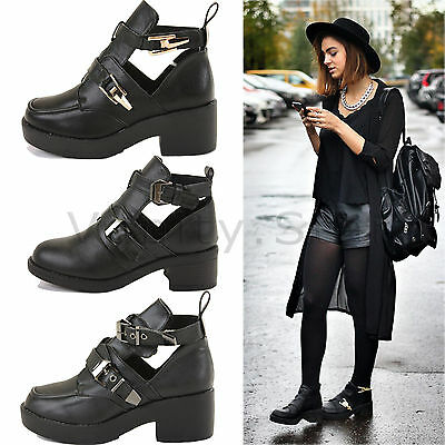 Nuevo Mujer Damas Tacón Bajo Bloque de corte de Chelsea Botas al Tobillo Zapatos De Hebilla Tamaño