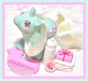 My-Little-Pony-MLP-G1-Vtg-Newborn-Baby-Ponies-WIGGLES-Bottle-Comb-Unicorn