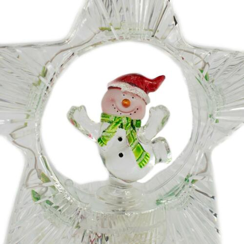 LED Christmas Tree Topper with Turning Snowman Colour Changing