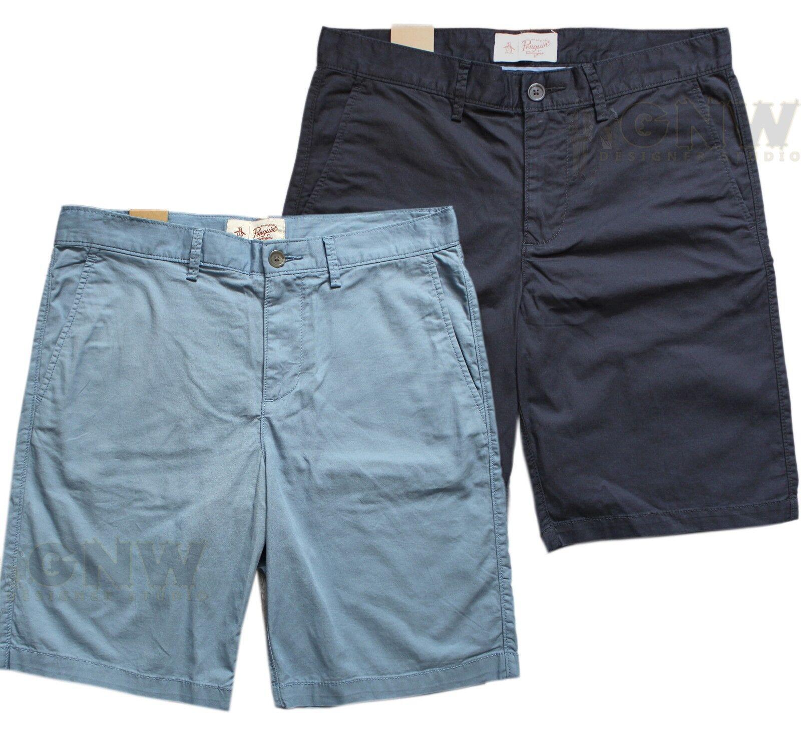 Original Pinguin Herren 4 Taschen Stretch Logo Shorts schwarz, blau, Marineblau    Die Farbe ist sehr auffällig
