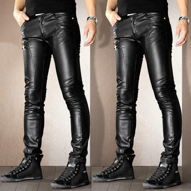 Mens Punk Motorcycle faux Leather Leisure Trousers Skinny Slim Fit Casual Pants