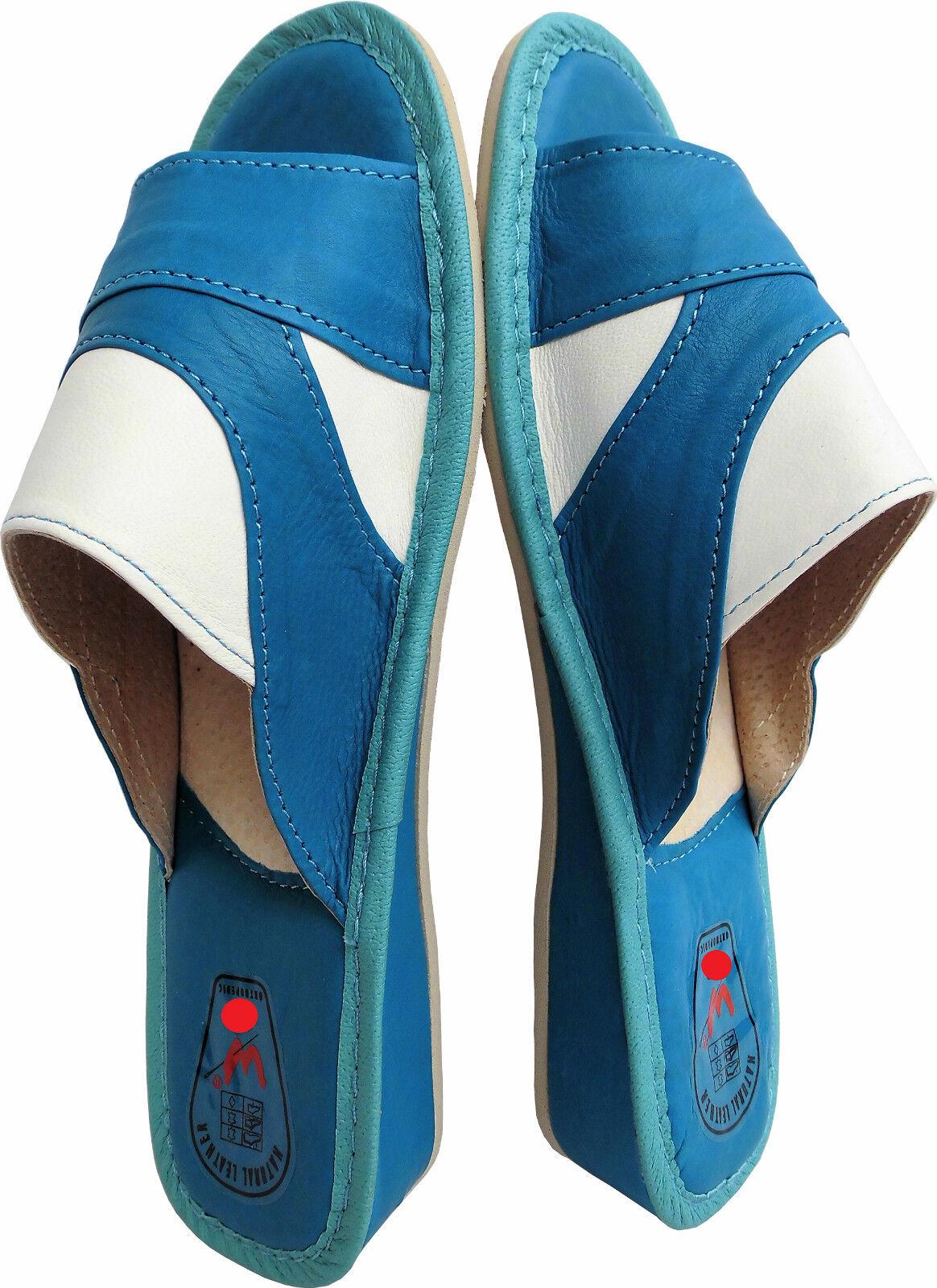 Pantolette - Hausschuhe - Latschen  Gr.42 Echt LEDER Blau-Weiss (14.6.4.10)