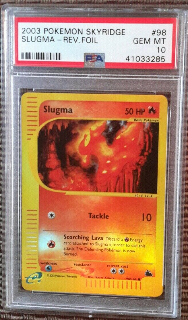 Slugma REVERSE FOIL FOIL FOIL 98 144 PSA 10 GEM MINT 2003 Skyridge Set Pokemon Card Pop 8 76cb22