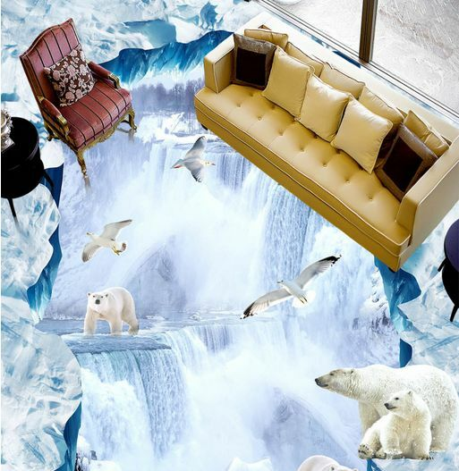 3D Snow Peak Polar Bear Floor WallPaper Murals Wall Print Decal 5D AJ WALLPAPER