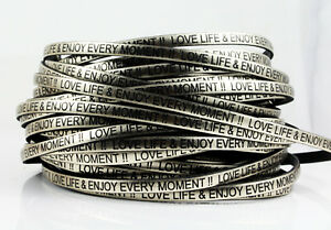 1 m Lederband - gold - 5 x 1,5 mm LOVE LIFE Slogan Echtleder
