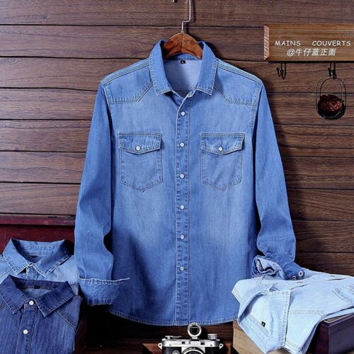 Fashion Men's Denim Jeans Shirt Autumn Long Sleeve Denim Cotton Shirt Outwear