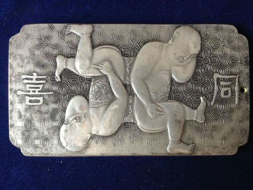 "3.55/""Old chinese Tibet Silver amulet Bullion statue thangka netsuke 同喜 141g"