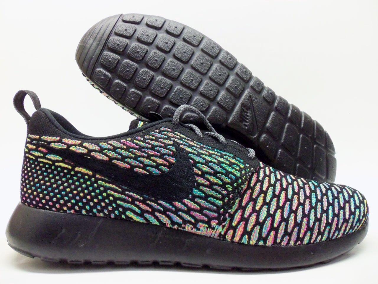 Nike flyknit roshe correre id, allenatore di multi-color / rainbow dimensioni uomini 9 [718293-993]