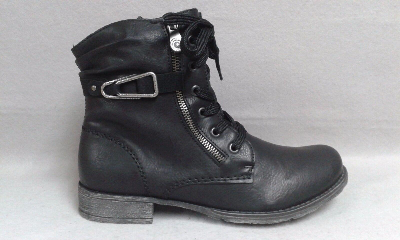 Rieker Boots Schnürboots schwarz Stiefel Stiefelette warm Reisverschluß 70847