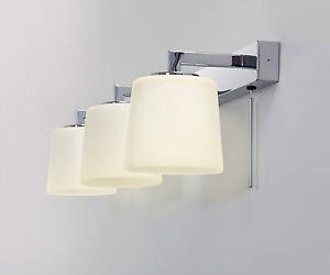 astro triplex bathroom mirror wall light 3 x 40w g9 switch chrome ebay