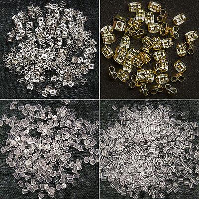 Ohrstopper 50 / 100 / 200 / 500 / 1000 Stück  Metall oder Silikon Ohr Verschluss