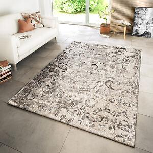 Das Bild Wird Geladen Teppich Modern Wohnzimmer  Webteppich Modern Ornamente Meliert Creme