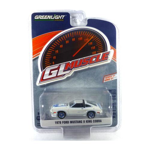 GL Muscle Cars 1:64 NEU!° Greenlight 13230-C Ford Mustang II King Cobra weiss