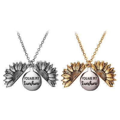 You Are My Sunshine Open Locket Sunflower Pendant Necklace Unisex Jewelry UK Lot