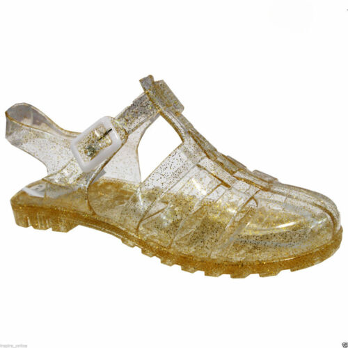 GOLD SIZES 8 TO 2 GIRLS INFANTS KIDS JELLY SANDALS SUMMER SHOES