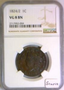 1824/2 Coronet Head Large Cent NGC VG-8; Scarce!