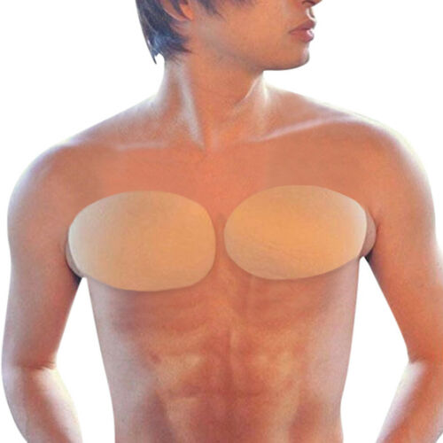 2pc Men Self-Adhesive Foam Silicone Gel Invisible Fake Muscle Enhancer Chest Pad