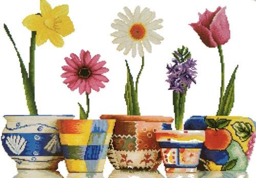 Stickpackung Nostalgie Blumen in Topf 70x50 cm Kreuzstich Stickbild DIY #H1292
