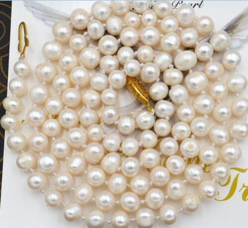 "Belle 7-7.5mm blanc akoya collier de perles 25/"""