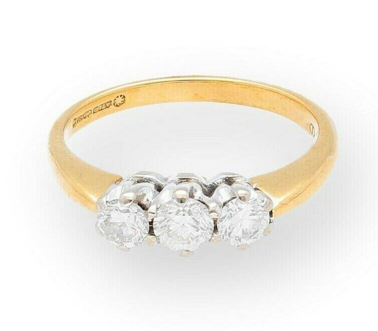 18Carat Yellow gold 0.66ct Diamond Three-Stone Ring (Size K) 4mm Widest