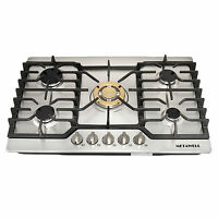 30 Stainless Steel Gold Burner Built-in 5 Stoves Natural Gas Cooktops Cooker