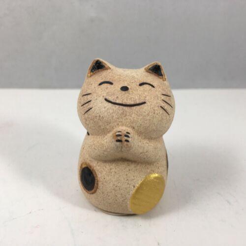 "Japanese 2/"" Clay Maneki Neko Lucky Cat Gold Coin Ornament Arigato Made in Japan"