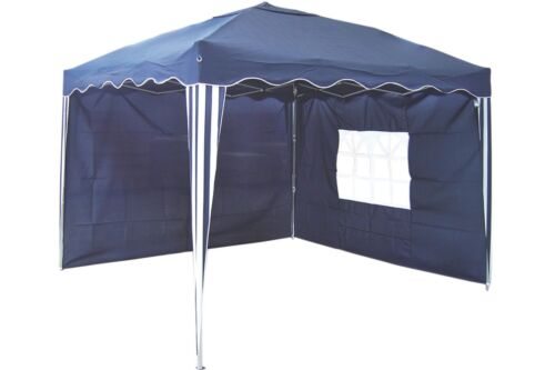 Alu Pop-Up Pavillon 3 x 3 m blau weiss Aluminium Faltpavillon 2 Seitenteile