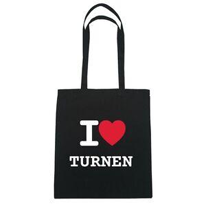I love TURNEN - Jutebeutel Tasche Beutel Hipster Bag - Farbe: schwarz